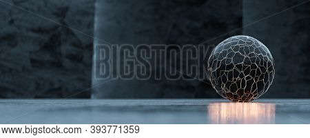 Abstract Ball Sphere Dark Planet Like Shape Modern Design With Glowing Orange Light And Dark Surface