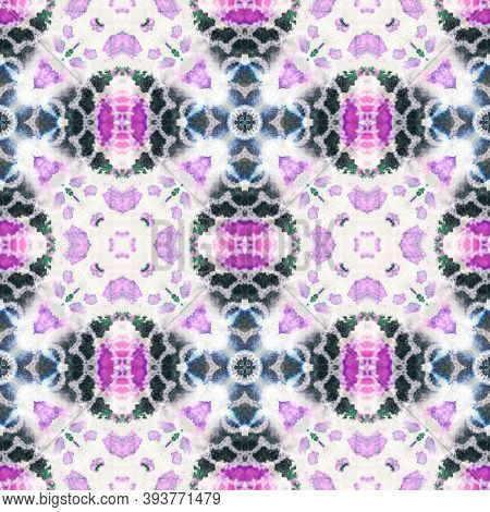 Seamless Tie Dye Pattern. Multicolor Natural Ethnic Illustration. Indigo And Pink Textile Print. Asi