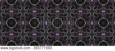 Ethnic Pattern. Abstract Batik Design. Luminous Neon Seamless Texture. Repeat Tie Dye Illustration.