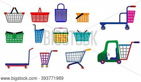 Set Of Small Shopping Basket Or Wire Shopping Basket Or Metal Container Shopping Basket. Eps 10 Vect