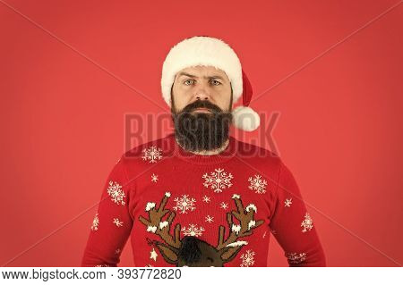 Ready To Meet Santa. Hipster Man In Red Santa Hat. Winter Holidays. New Year Party. Bearded Santa Ma