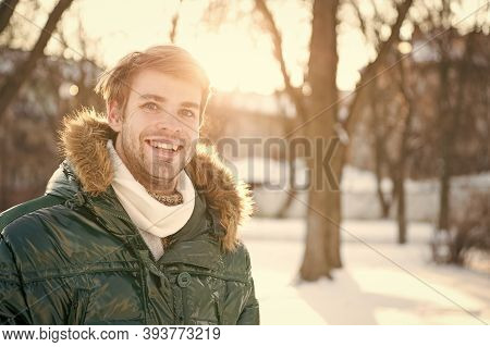 Sunny Winter Day. Winter Menswear. Winter Outfit. Hipster Fashion Outfit. Guy Jacket With Hood. Man