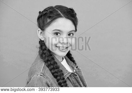 Gorgeous And Beauty Which You Deserve. Happy Child Smile Blue Background. Beauty Look Of Little Girl