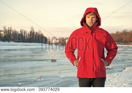 Safety Measures. Polar Explorer. Winter Menswear. Winter Outfit. Comfortable Outfit. Man Warm Jacket