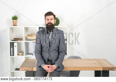I Am Listening. Report And Complaint Concept. Man Bearded Hipster Boss Looking At You With Attention