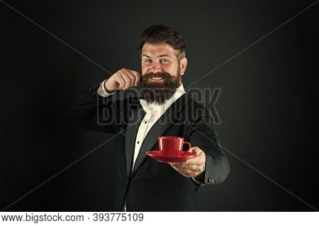 Skilled Professional With Passion For Coffee. Coffee Barista Black Background. Happy Barista Serve C