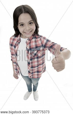 I Like It. Kid Girl Long Curly Hair Posing Confidently. Girl Smiling Face Feels Confident. Child Con