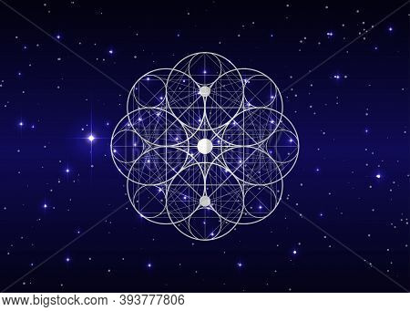 Seed Of Life Symbol Sacred Geometry. Geometric Mystic Mandala Of Alchemy Esoteric Flower Of Life. Ho