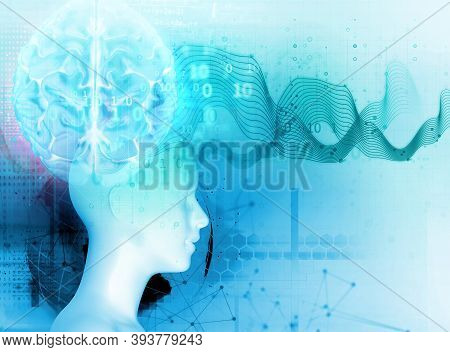 Silhouette Of Virtual Human On Brain Delta Wave Form 3d Illustration  , Represent Meditation And  De