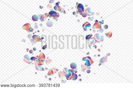 Color Holography Plastic Vector Transparent Background. Party Bubbles Template. Hologram Gradient Bu