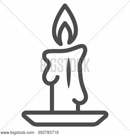 Burning Candle Line Icon, New Year Concept, Candle Sign On White Background, Burning Candle In Candl