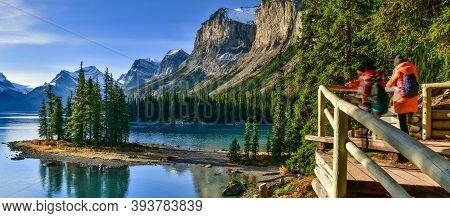 Panoramic Beautiful Spirit Island In Maligne Lake, Jasper National Park, Alberta, Canada
