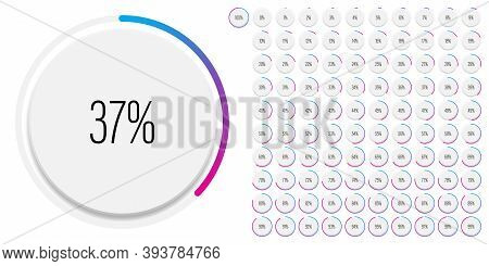 Set Of Circle Percentage Diagrams Meters From 0 To 100 Ready-to-use For Web Design, User Interface U