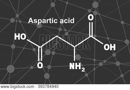 Amino Acid. Aspartic Acid Structural Formula. Infographics Illustration. Lines And Dots Connected Ba