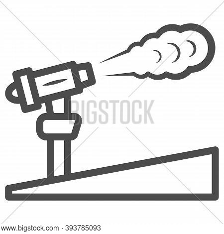 Snow Cannon Line Icon, World Snow Day Concept, Ski Resort And Equipment Symbol On White Background,