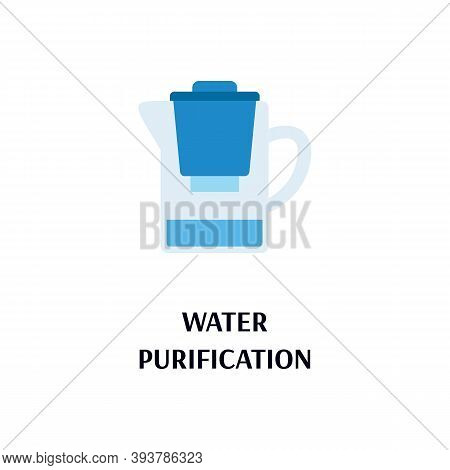 Water Purification Card Showing Filters System To Purify Drinking Water At Home, Flat Vector Illustr