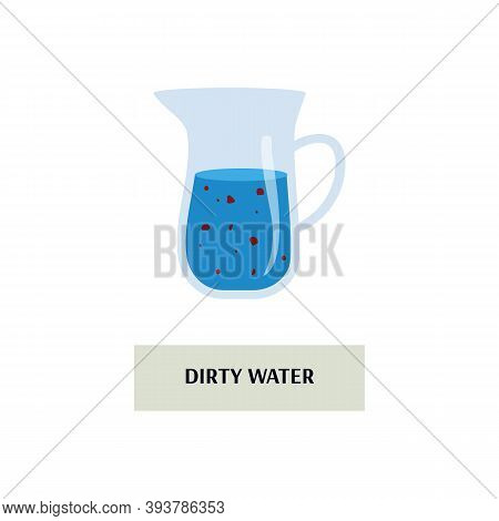 Dirty Water In Glass Jug - Isolated Pitcher Jar With Bacteria Or Dirt Floating In Blue Liquid. Unsaf