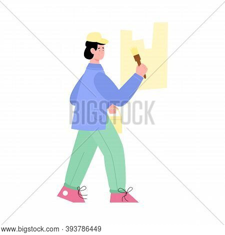 Working House Painter Paints A Wall With Brush, Flat Cartoon Vector Illustration Isolated On White B