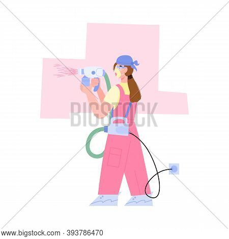 Woman Professional Painter Paints The Wall With Electric Spray Gun, Flat Cartoon Vector Illustration