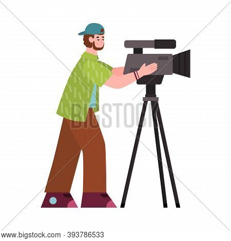 Professional Cameraman, Operator, Videographer With Camera. Shooting Of Movie Production, Broadcasti