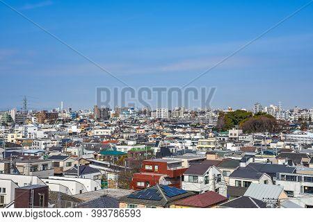 Skyline In Setagaya Ward In Sunny Day With Blue Sky, Tokyo, Japan