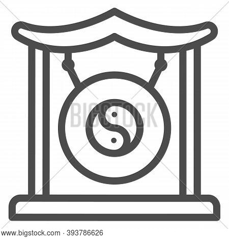 Chinese Gong Line Icon, Chinese Mid Autumn Festival Concept, Asian Musical Instrument Sign On White