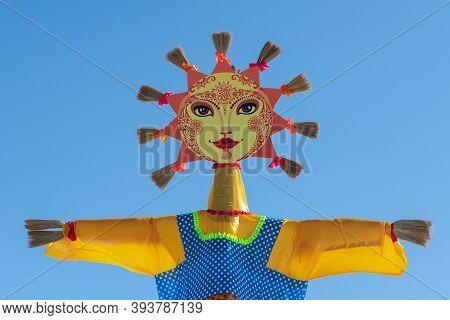 Ritual Effigy Of Lady Maslenitsa - Festive Symbol Of Traditional Festival Of Maslenitsa - Russian Re