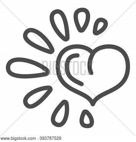 Healthy Heart Line Icon, Healthy Lifestyle Concept, Life Without Drug Sign On White Background, Heal