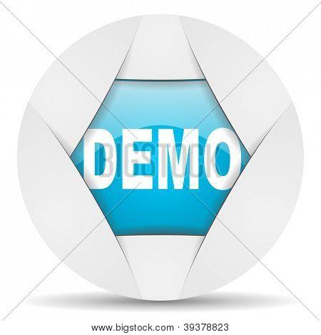 demo round blue web icon on white background