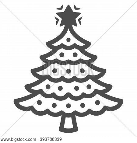 Christmas Tree Line Icon, New Year Concept, Fir-tree Sign On White Background, Christmas Tree With D