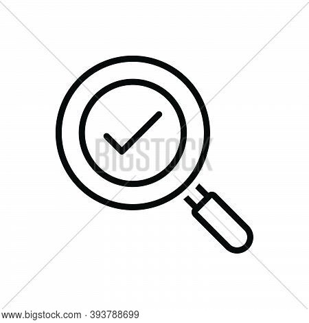 Black Line Icon For Found Exploration Solution Analyzing Magnifying-glass Check-mark Loupe Magnifica