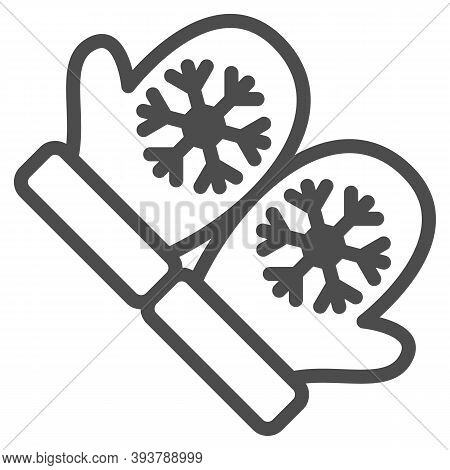 Snowflakes On Mittens Line Icon, World Snow Day Concept, Pair Of Knitted Christmas Mittens Sign On W