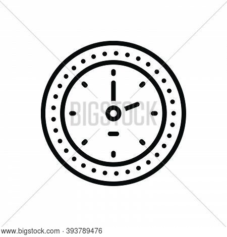 Black Line Icon For Clock Watch Timer Timepiece Horologe Alarm Time Analog Countdown