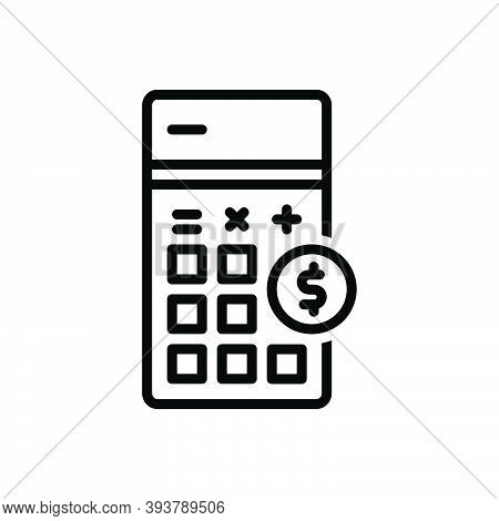 Black Line Icon For Cost Be-priced-at Calculate Accounting Arithmetic Financial Dollar