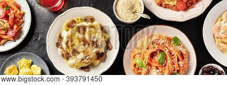Pasta. Overhead Panoramic Shot Of Traditional Italian Dishes. Mushroom Pappardelle, Tomato Spaghetti