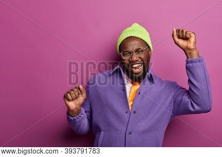 Glad Enthusiastic Bearded Man Keeps Hands Up, Celebrates Triumph, Makes Champion Dance, Celebrates G