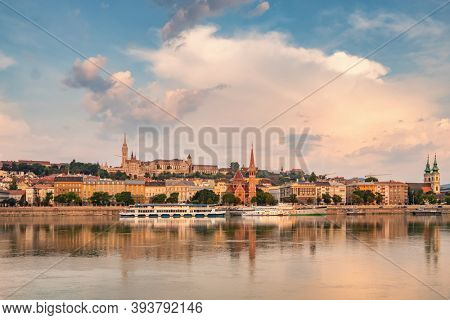 Landscape of the Buda side of Budapest with the Buda Castle, St. Matthias and Fishermen's Bastion, Hungary