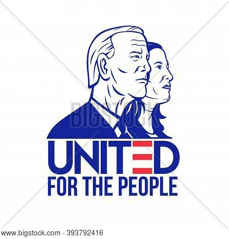Nov 9, 2020, Auckland, New Zealand: Illustration Of 46th American President And Vice President  Demo