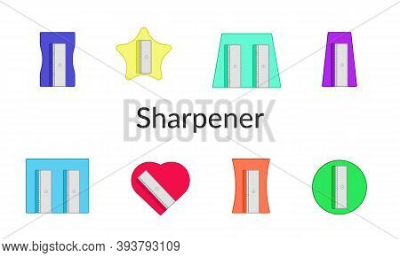 Vector Isolated Icon Set. Different Types Of Pencil Sharpeners, Multicolored On A White Background.