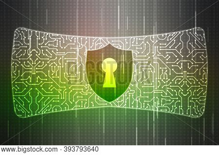 Security Concept, Shield Lock On Digital Screen, Cyber Security Concept, Internet Security Backgroun