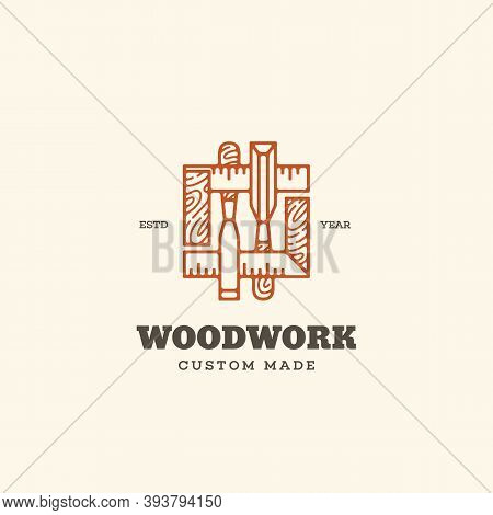 Logo Design Template With Two Chisels And Squares For Wood Shop, Carpentry, Woodworkers, Wood Workin