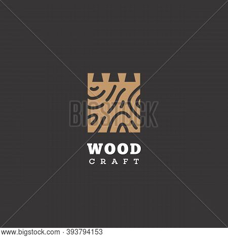 Logo Design Template With Wooden Board For Wood Shop, Carpentry, Woodworkers, Wood Working Industry.