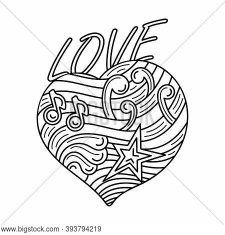 Handdrawn Heart Outline Style For Coloring Book. Love - Lettering. Black And White Vector Illustrati