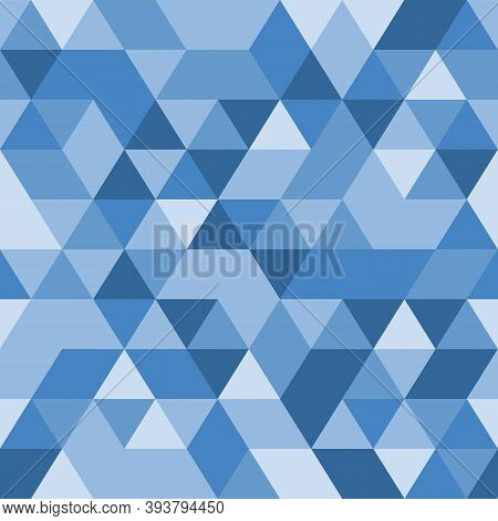 Blue Triangular Background. Seamless Geometric Pattern. Blue Triangles. Low Poly Template. Crystal T