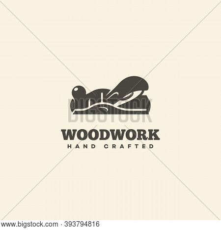 Logo Design Template With Block Plane For Wood Shop, Carpentry, Woodworkers, Wood Working Industry.