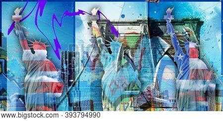 Surreal digital art. Brooklyn bridge and Liberty statue on New York's cityscape. 3D rendering
