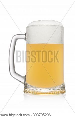 Stein With Frothy Light Wheat Beer Isolated On A White Background.