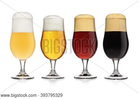 Beer Flight, Set Of Different Various Of Beers Isolated On White Background.