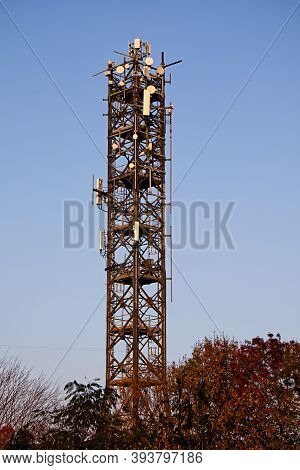 Telecommunication Tower With Antennas. Connection Antenna Wireless, Television And Fast Internet.