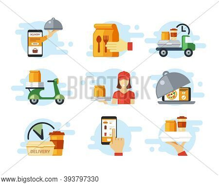 Fast Food Ordering And Delivery Set. Online Order From Smartphone Hand Holds Package Of Food High Sp